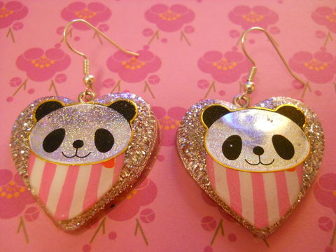 Pink,Panda,Love,Heart,Resin,Earrings,harajuku Super kawaii heart shaped resin earrings filled with silver glitter decorated with a pink and white striped heart with a kawaii panda, all on silver plated earring hooks.