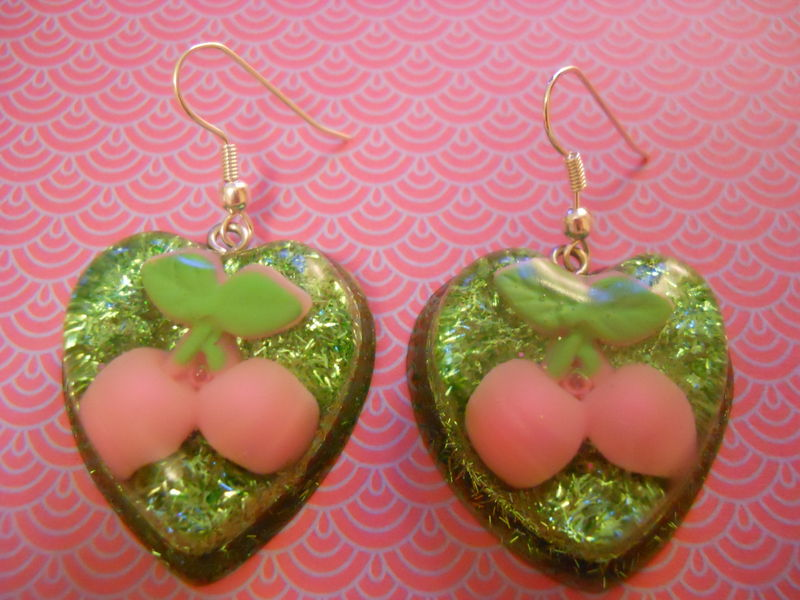 Cherry Green Glitter Love Resin Earrings - product images  of
