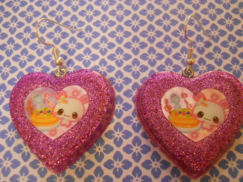 Pink,Rabbit,Cake,Love,Resin,Earrings,harajuku Super kawaii heart shaped resin earrings filled with pink glitter, decorated with a kawaii rabbit and cake design, all on silver plated earring hooks.