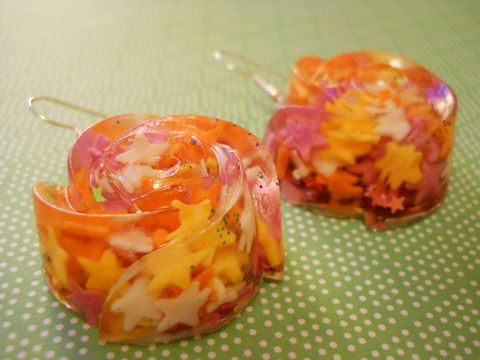 Star,Candy,Rose,Wagashi,Resin,Earrings,harajuku Super kawaii rose wagashi shaped resin earrings filled with pink , orange and yellow sugar candy 100s and 1000s, all on silver plated earring hooks.