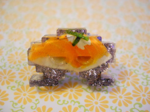 Lilac,Sushi,Space,Invader,Resin,Ring,harajuku Space Invader shaped resin filled with lilac glitter strands, food decorated with a salmon sushi, all on a nickel free adjustable ring base.