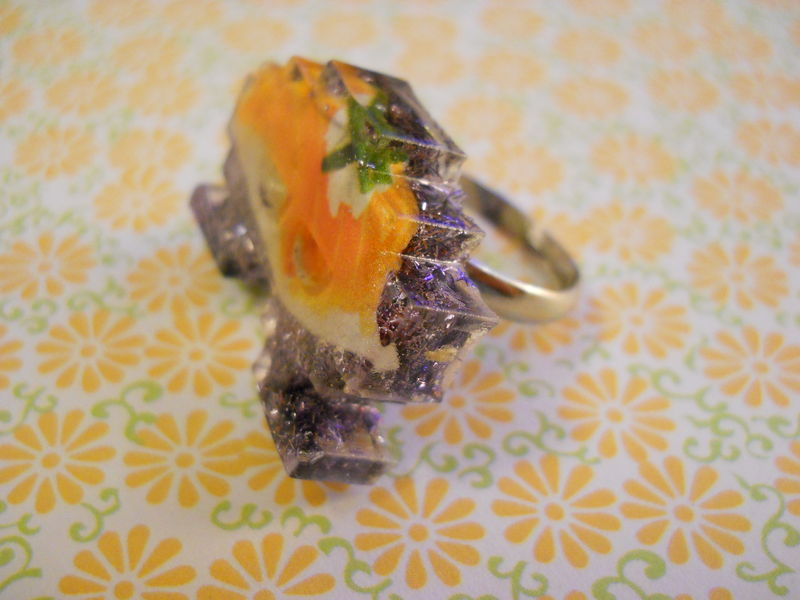 Lilac Sushi Space Invader Resin Ring - product images  of