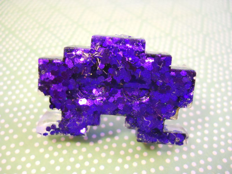 Dark Purple Space Invader Resin Ring - product images  of