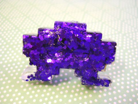 Dark,Purple,Space,Invader,Resin,Ring,harajuku Space Invader shaped resin filled with dark purple glitter on a nickel free adjustable ring base.