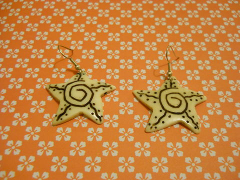 Starfish,Earrings,harajuku kawaii star starfish white black cream