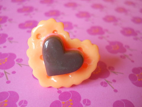 Orange,Heart,Cookie,and,Chocolate,Ring,harajuku kawaii pink orange cookie heart biscuit chocolate silver ring jewellery