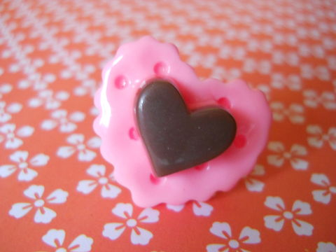 Pale,Pink,Heart,Cookie,and,Chocolate,Ring,harajuku kawaii pale pink cookie heart biscuit chocolate silver ring jewellery