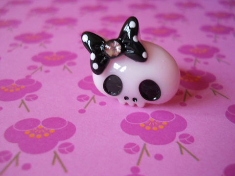 Pink,Skull,Ring,harajuku kawaii pink skull black bow diamanté silver ring jewellery