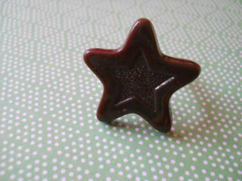 Chocolate,Star,Ring,harajuku kawaii chocolate star silver ring jewellery