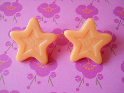 Orange,Chocolate,Star,Earrings,harajuku kawaii orange chocolate stars stud earrings