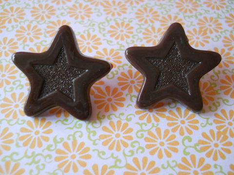 Brown,Chocolate,Star,Earrings,harajuku kawaii brown chocolate stars stud earrings