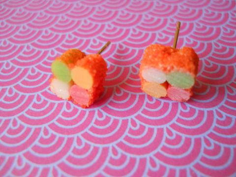 Orange,Sushi,Roll,Earrings,harajuku kawaii orange sushi roll food stud earrings