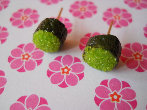 Wasabi,Tobiko,Earrings,harajuku kawaii wasabi green roe tobiko sushi roll food stud earrings