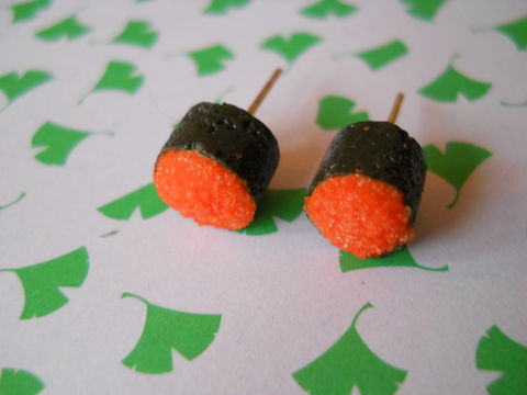 Orange,Roe,Tobiko,Earrings,harajuku kawaii orange roe tobiko sushi roll food stud earrings