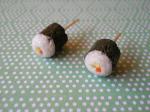 Maki,Sushi,Earrings,harajuku kawaii maki sushi roll food stud earrings