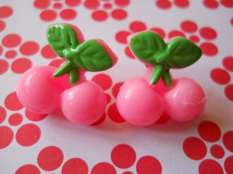 Light,Pink,Cherry,Earrings,harajuku kawaii light pale pink cherry cherries food stud earrings