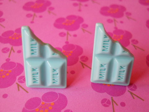 Baby,Blue,Milk,Chocolate,Bar,Earrings,harajuku kawaii baby blue milk chocolate bar food stud earrings