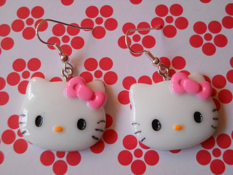 Pink,Hello,Kitty,Earrings,harajuku kawaii hello kitty pink bow drop earrings