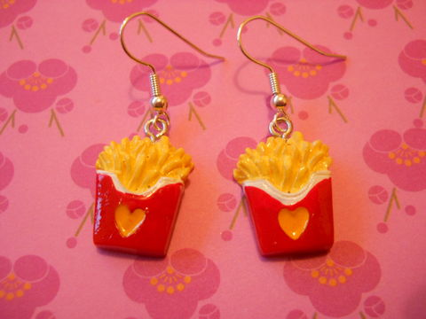 Red,Fries,Earrings,harajuku kawaii food chips mcdonalds fries on drop earrings.