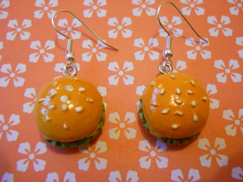 Cheeseburger,Earrings,harajuku kawaii food cheese burger mcdonalds on drop earrings.