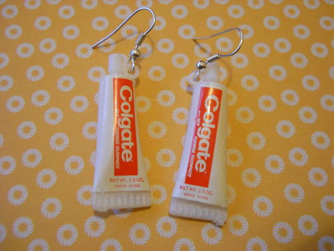Colgate,Toothpaste,Earrings,harajuku kawaii food white colgate toothpaste on drop earrings.