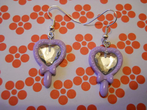 Lilac,Princess,Mirror,Earrings,harajuku kawaii lilac fairytale princess mirror sparkly on drop earrings.
