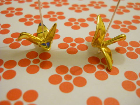 Gold,Origami,Crane,Earrings,harajuku kawaii 3D origami cranes hanging on silver wire on drop earrings.