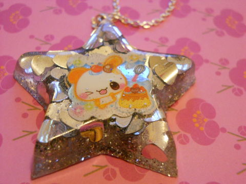 Silver,Star,Orange,Dog,Necklace,Super kawaii star shaped resin pendant filled with silver heart glitter confetti and backed with silver glitter. The pendant also features a dog with cherries and a cake  silver gold necklace chain cute pendant