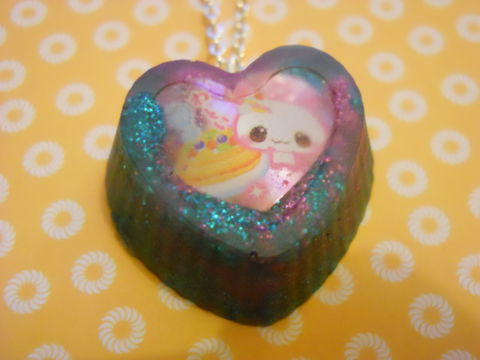 Turquoise,Pink,Rabbit,Cupcake,Heart,Necklace,Super kawaii food love cupcake shaped resin filled with pink and turquoise glitter on decorated with a cute rabbit and cakespendant silver gold necklace chain cute pendant