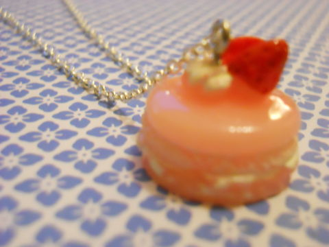 Pink,Gateau,Necklace,Super kawaii gateau food pink cake topped with a strawberry pendant silver gold necklace chain cute pendant
