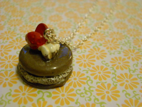 Chocolate,Gateau,Necklace,Super kawaii gateau food chocolate sponge cake topped with a strawberry and cream  pendant silver gold necklace chain cute pendant