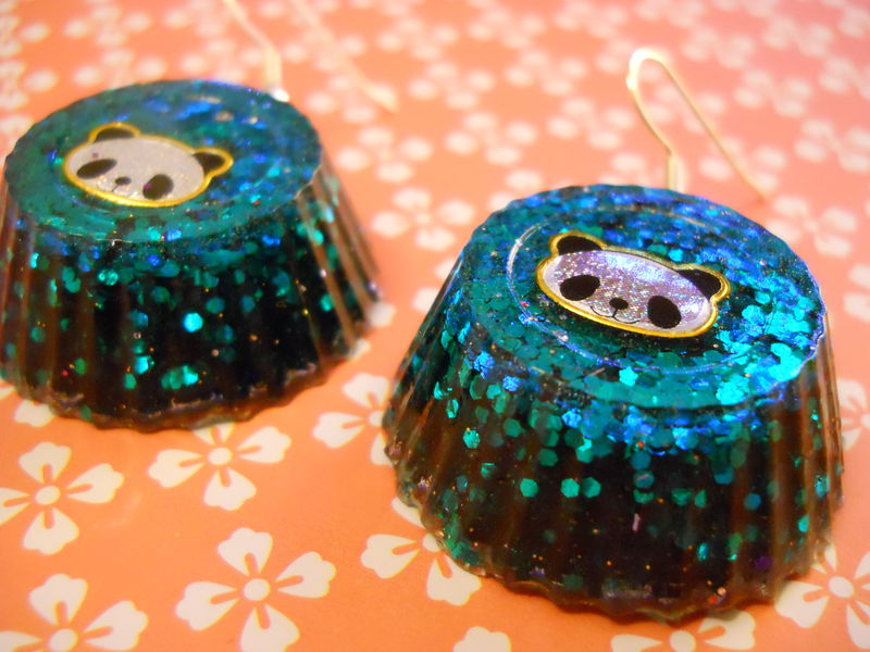 Turquoise Panda Wagashi Resin Earrings - product images  of
