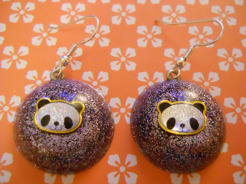 Purple,Panda,Wagashi,Dome,Resin,Earrings,harajuku kawaii wagashi silver purple lilac dome panda sparkly glitter resin rice seaweed onigiri sushi roll japanese food silver plated drop earrings