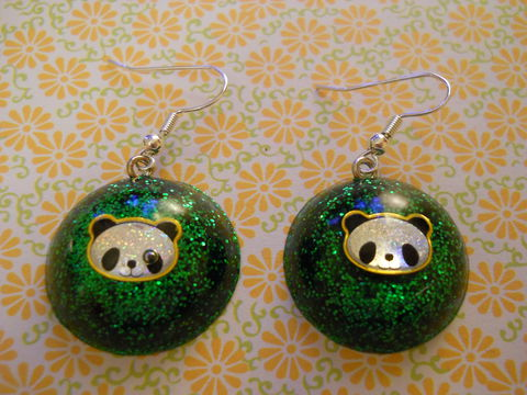 Dark,Green,Panda,Wagashi,Dome,Resin,Earrings,harajuku kawaii wagashi silver dark green dome panda sparkly glitter resin rice seaweed onigiri sushi roll japanese food silver plated drop earrings