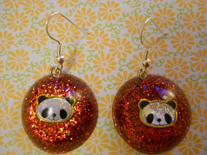 Red Panda Wagashi Dome Resin Earrings - product images  of