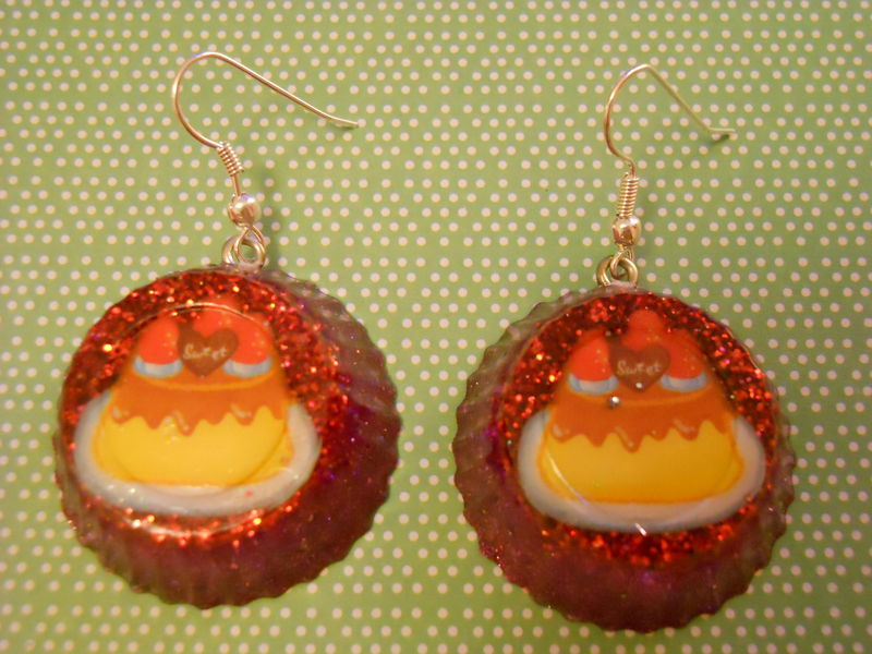 Red Trifle Wagashi Resin Earrings - product images  of