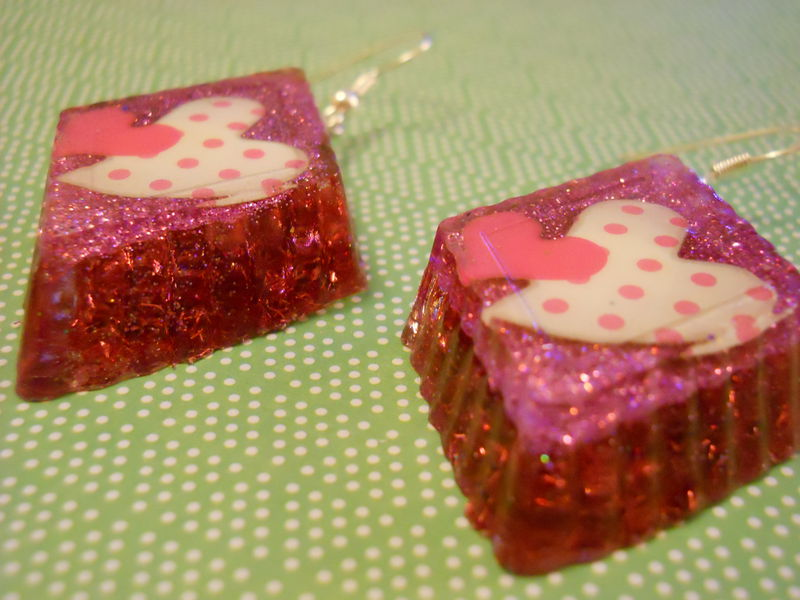 Pink Dotty Heaty Diamond Wagashi Resin Earrings - product images  of