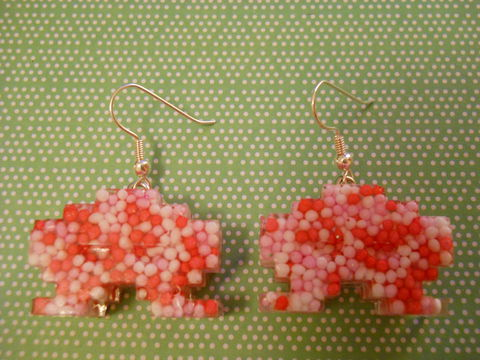 Love,Candy,Space,Invaders,Resin,Earrings,harajuku kawaii wagashi red white pink candy sweets 100s and 1000s space invader glitter silver plated drop earrings