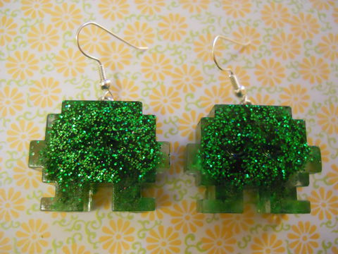 Dark,Green,Space,Invaders,Resin,Earrings,harajuku kawaii wagashi dark green glitter space invader silver plated drop earrings