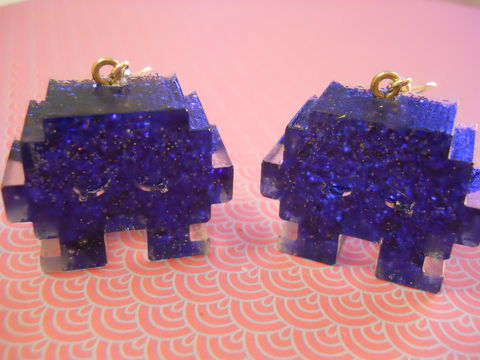 Half,FIlled,Dark,Blue,Space,Invaders,Resin,Earrings,harajuku kawaii wagashi dark blue half filled glitter space invader silver plated drop earrings