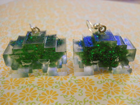 Half,FIlled,Dark,Green,Space,Invaders,Resin,Earrings,harajuku kawaii wagashi dark green half filled glitter space invader silver plated drop earrings