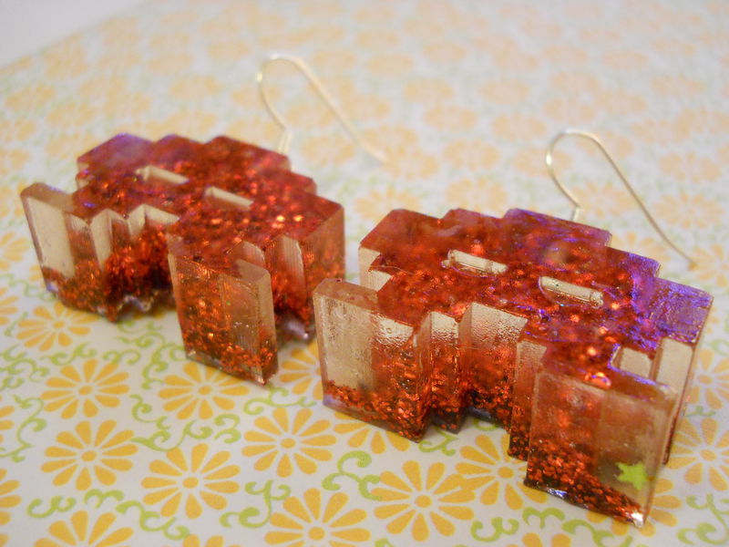 Half FIlled Dark Red Space Invaders Resin Earrings - product images  of