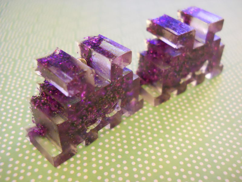 Half FIlled Dark Purple Space Invaders Resin Earrings - product images  of