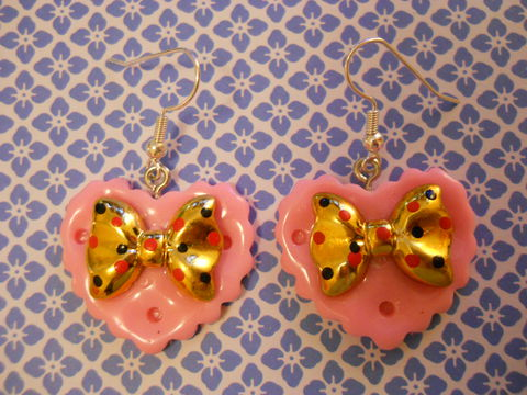 Pink,Double,Whammy,Earrings,kawaii earrings, kawaii jewellery, harajuku kawaii gold bow pink heart love milk chocolate bar food stud earrings