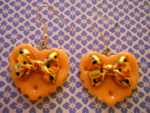 Orange,Double,Whammy,Earrings,kawaii earrings, kawaii jewellery, harajuku kawaii gold bow orange heart love milk chocolate bar food stud earrings