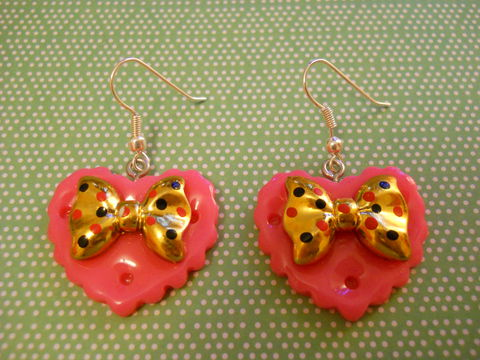 Dark,Pink,Double,Whammy,Earrings,kawaii earrings, kawaii jewellery, harajuku kawaii gold bow pink heart love milk chocolate bar food stud earrings