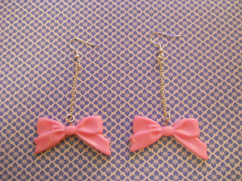 Light,Pink,Long,Bow,Dangly,Earrings,harajuku, kawaii, kawaii jewellery, kawaii earrings, light pink, pink bow, drop earrings, dangly