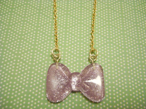 Lilac,Sparkly,Bow,Necklace,Super kawaii sparkly lilac bow pendant silver gold necklace chain cute pendant