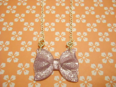 Sparkly,Lilac,Rippled,Bow,Necklace,Super kawaii sparkly rippled lilac bow pendant silver gold necklace chain cute pendant