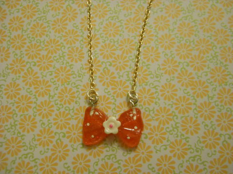 Miniture,Red,Polka,Dotted,Bow,Necklace,Super kawaii Super tiny red bow pendant with white polka dots on a necklace silver gold necklace chain cute pendant